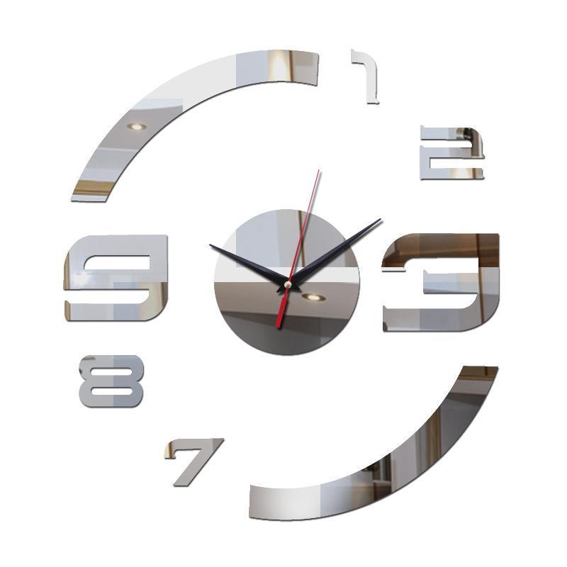 Promoción Acrílico Espejo Negro Plata Cuarzo Sala de estar Real Relojes de pared Decoración del hogar Pegatinas 3D DIY Reloj Hermoso arte