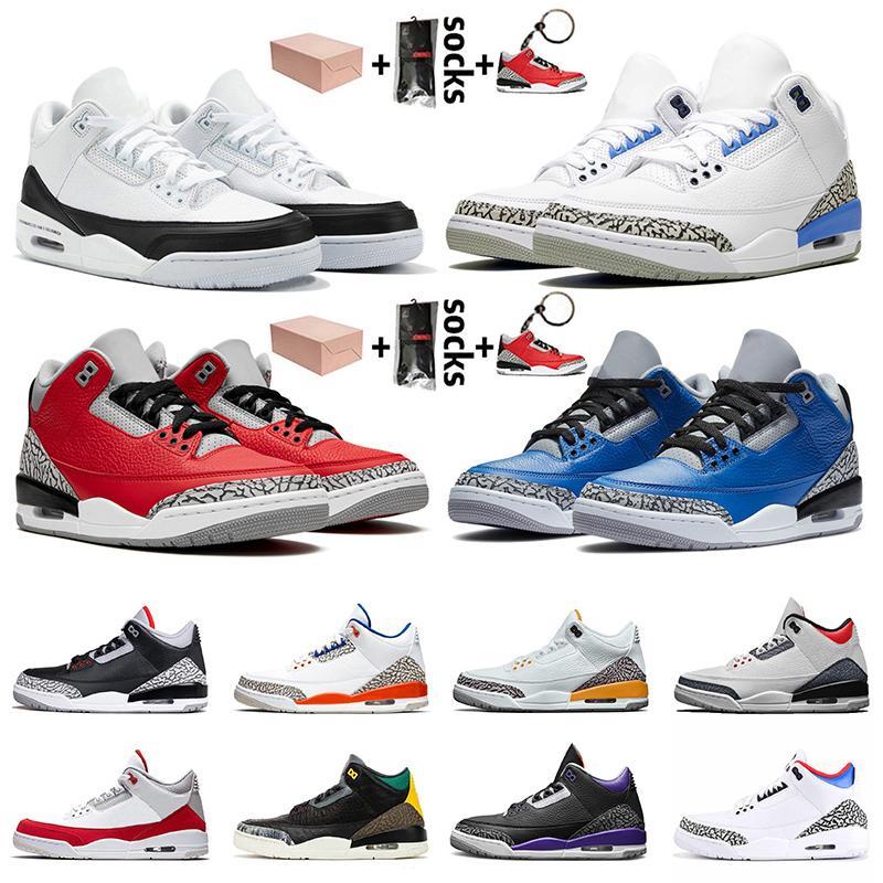 3 3s stock x retro 3 com caixa de Jumpman Mens Basketball sapatos de UNC Fragmento Red Cimento Varsity reais Mens Formadores Sneakers