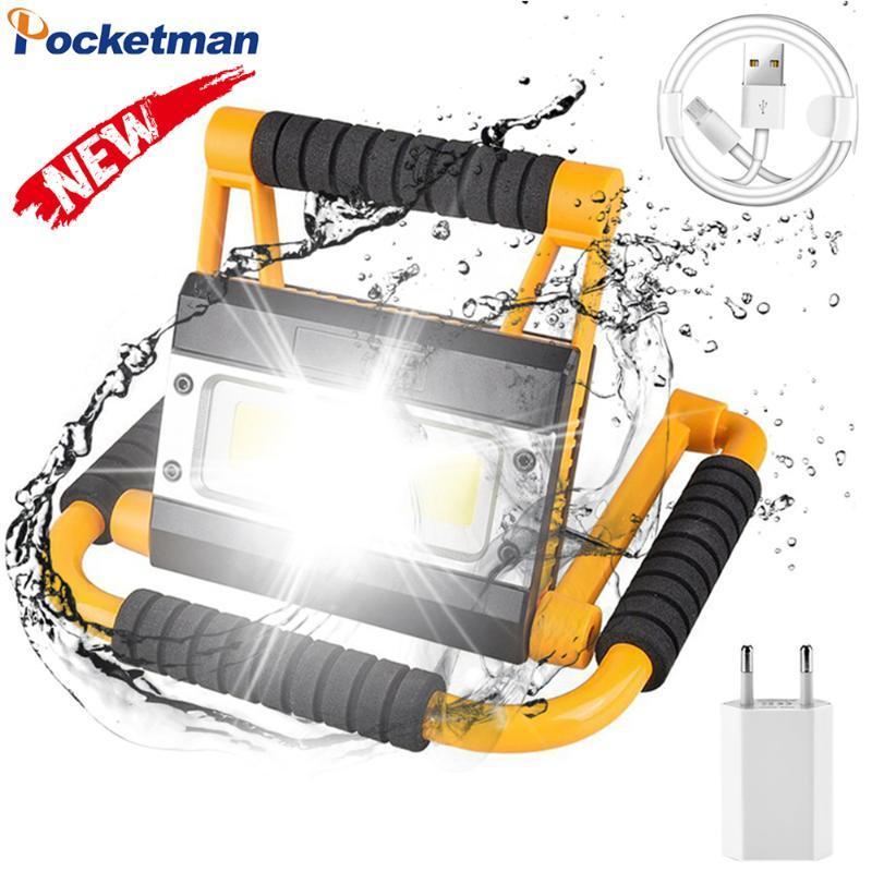 100W Lange Range LED Work Light Мощный USB Аккумуляторная лампа Водонепроницаемый Аварийный световой фонарик