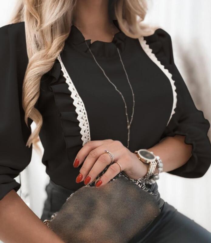 Seksi Yeni Bayan Sonbahar Ve Kış Eğlence Uzun Kollu Dantel Lotus Yaprak Panelli Gömlek Bluzlar Boyutu S-2XL
