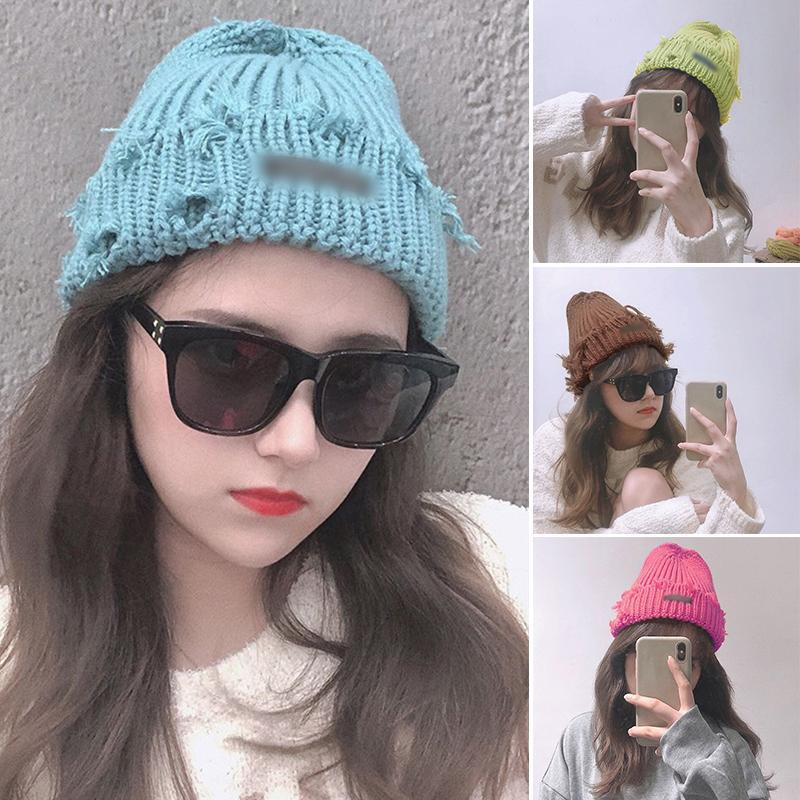 Beanie / Kafatası Kapaklar 2021 Kış Şapka Kadınlar Için Örme Beanies Kalın Sıcak Bayanlar Yün Angora Kadın Bere Şapkalar