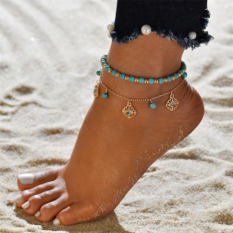 البوهيمي قذيفة القلب الصيف الخلخال مجموعة للنساء السلحفاة الكاحل أساور الفتيات حافي القدمين على الساق سلسلة أنثى مجوهرات هدية 158 O2