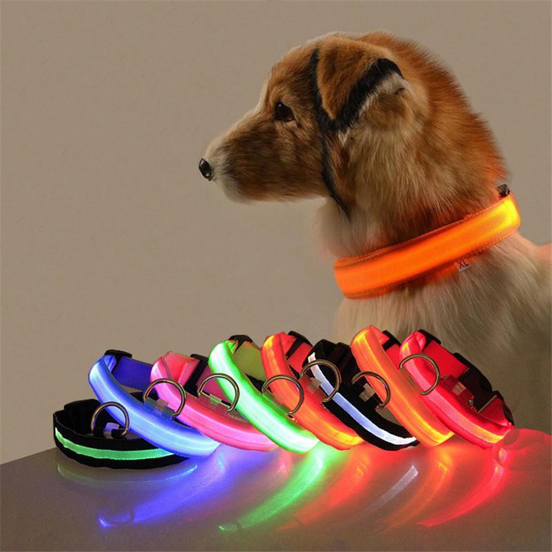 LED Nylon Pet Dog Collar Dog Night Safety LED Light Flashing Anti-Lost/ Car Accident Avoid Collar S-XL Luminous Pet Collars YYS2645