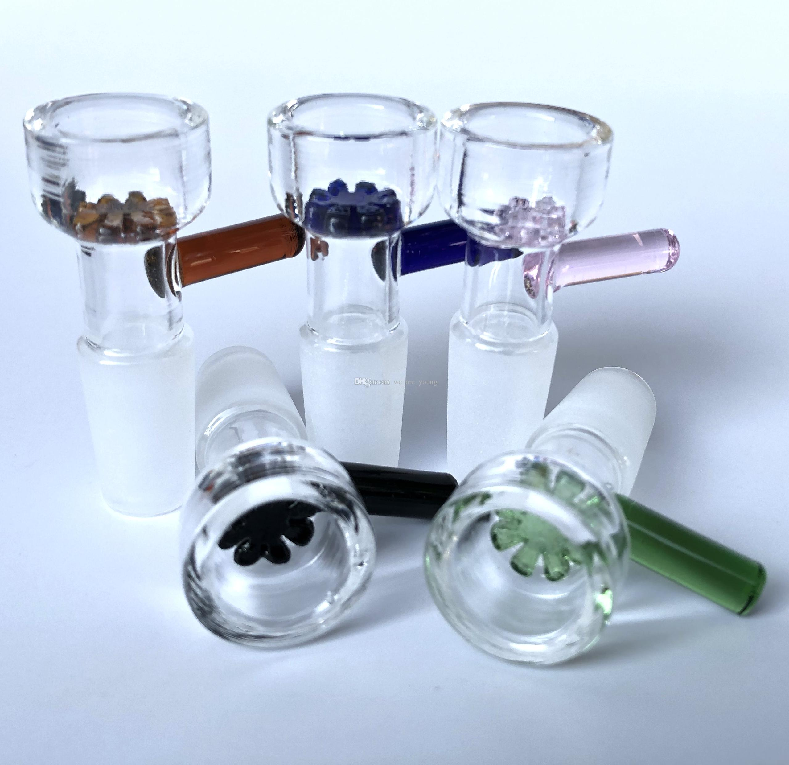 Cuencos de cristal de la diapositiva de hierbas 10 mm 14 mm 18 mm con el tazón de filtro de copo de nieve de la flor para los bongs de vidrio y el cuenco del vidrio del receptor de la ceniza