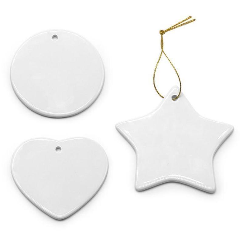 Blanco Blanco Sublimación Cerámica Colgante Navidad Adornos de Navidad Transferencia de calor Impresión DIY Ornamento de cerámica Corazón Corazón Decoraciones navideñas
