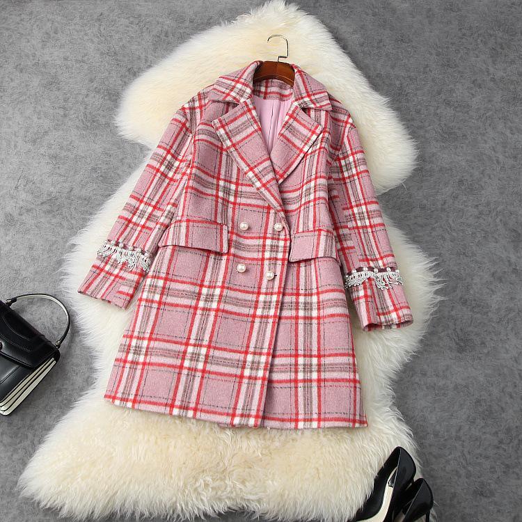 유럽과 미국 여성의 착용 2020 겨울 새로운 스타일의 긴 소매 더블 - 브레스트 비드 패턴 유행 모직 코트