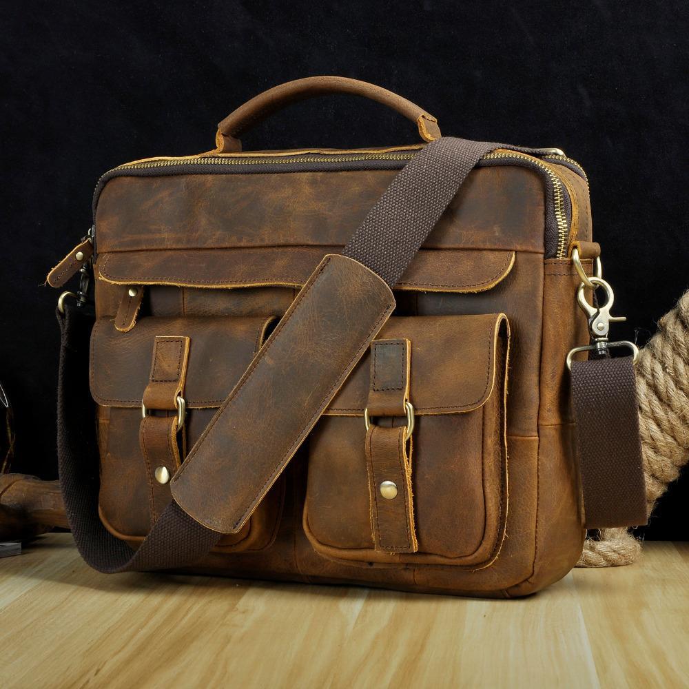 """Le'aokuu homens de couro real antigo estilo café Business 13 """"Capas para laptop Cadastre-laptop Bette Messenger Bags Portfolio -D LJ200930"""