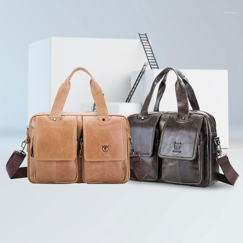 TopFight Marke Männer Laptop Business Bags Handtaschen 14-Zoll-Leder-Laptop-Aktentasche Handtasche Einzelner Schulter Bolso Taschen Bandolera1