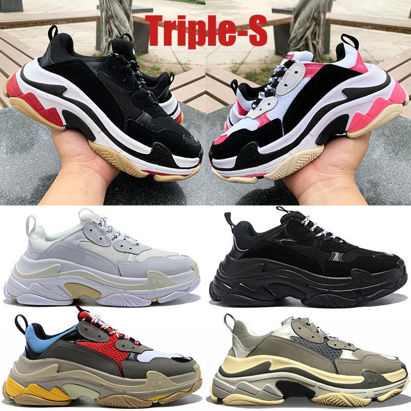 Mode Triple S Platform Sneakers Männer Frauen Schwarz Weiß Rot Grau Beige Grün Gelb Vintage Herren Ourdoor Laufschuhe US 6-12