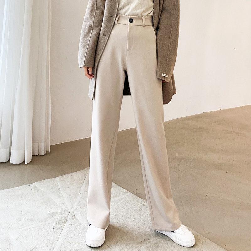 Mujeres 2021 otoño invierno nuevo lana pantalones de pierna ancha femenina alta cintura suelta pantalones rectos lentes de color sólido pantalones largos W466