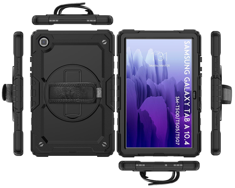 Caja de la tableta de silicona de Strapketstand de la mano de rotación 360 para Samsung Galaxy Tab A7 Funda 2020 T500 T505 cubierta protectora