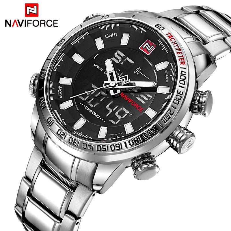 Mens relógios de luxo moda esporte relógio naviforce marca homens quartzo analógico relógio digital masculino impermeável relógios de aço inoxidável lj201124