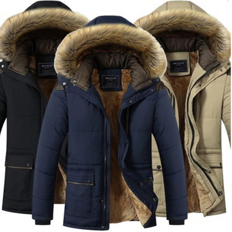 Talla grande 5XL Tela de viento de invierno Sólido Parka Cloon Hombres Capturado Casual Espesado Chaquetas Jas Ropa de abrigo