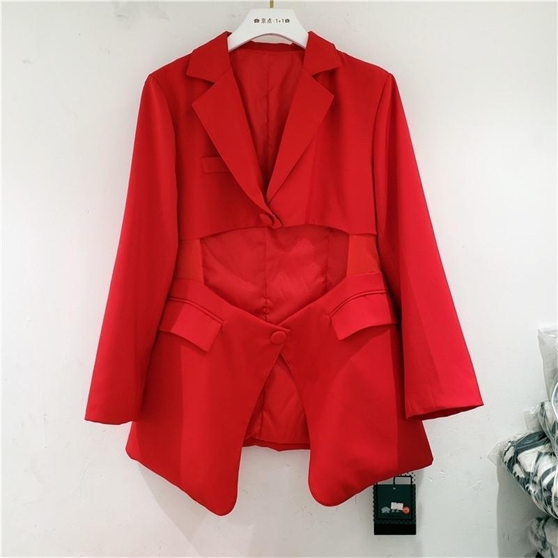 [EWQ] Autumn European Goods Fashion Hole Design Jacket Irregular Waist Loose Blazer 4 Color Loose Casual All-amtch Suit 201114