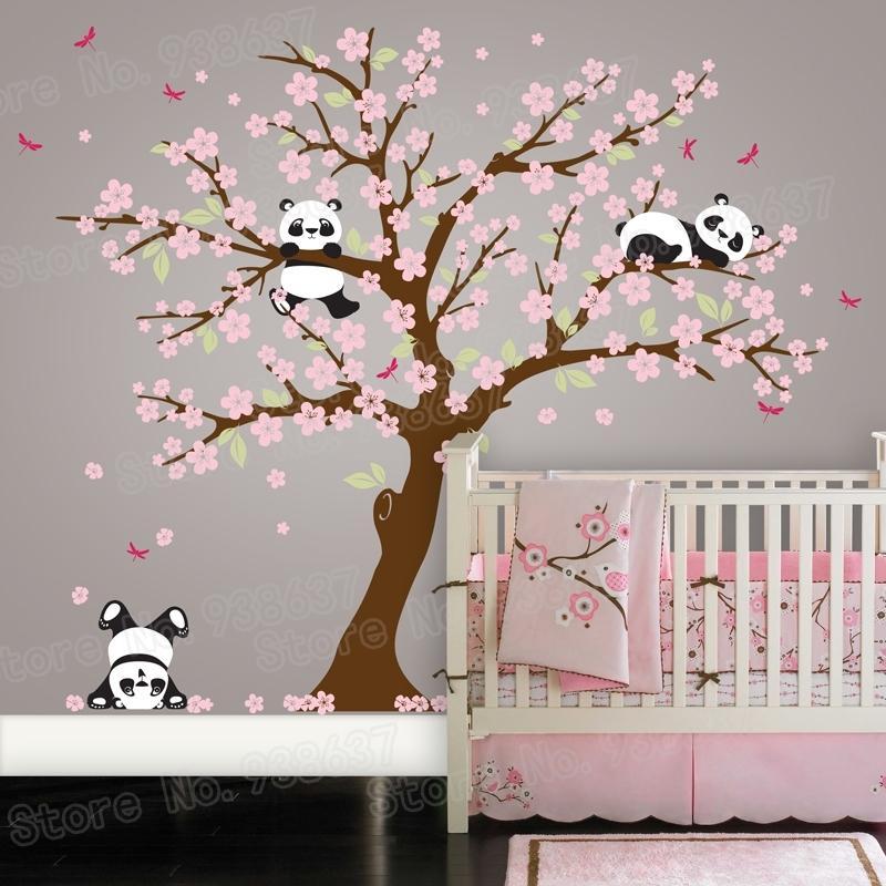 Panda Bear Cerey Blossom Tree Wall Decal para guardería Etiquetas de pared autoadhesivas de vinilo Flor árbol Decoración de la casa Dormitorio ZB572 201201