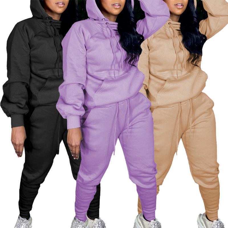 45Q680 Automne Hiver Femmes Mode Casual solide extérieur Accueil Sports avec capuchon Deux Piece Set Survêtement Tenues Sweatsuit