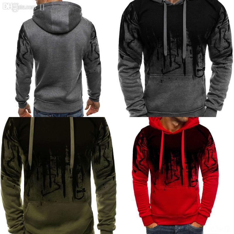 8GNF2 Moomphya 3D printing sleeve clothes Splash ink mens sweater pullover creative man hop Stylish ripped holes raglan men knitted