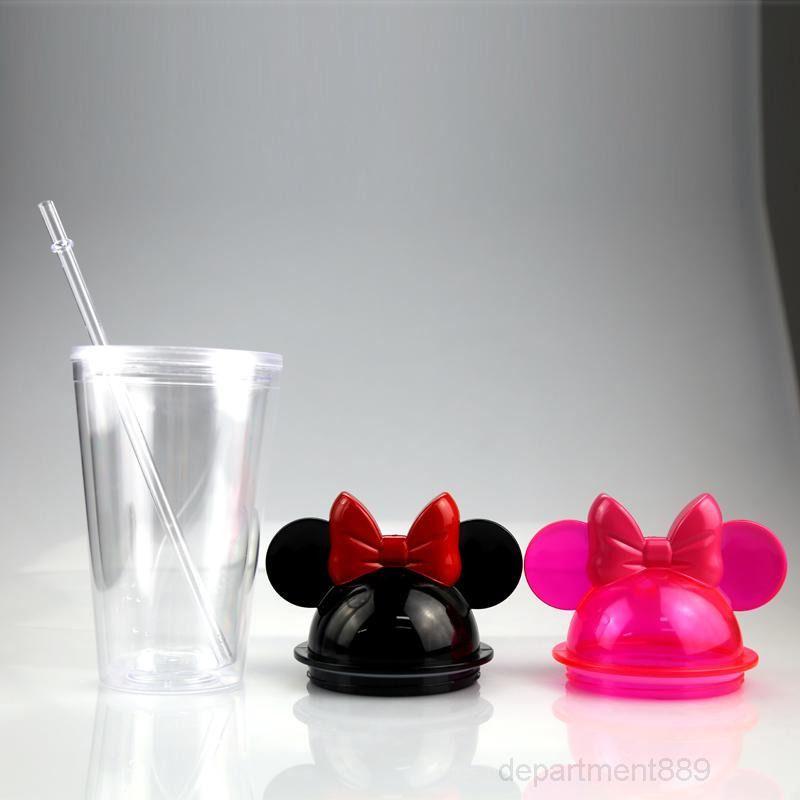 Tumblers de agua libre de plástico rápida libre con paja 450ml GWD2332 Taza de botellas Acrílico Lindo oído mar Mouse Oreas Niños Tazas portátiles QGGH