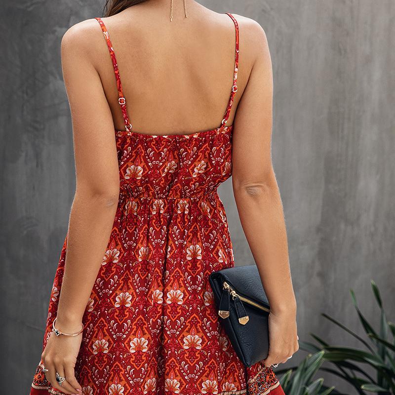 Cropkop Verano Mujeres Vintage Floral Algodón Vestido corto Casual Mini Sundress Sexy Invertible Red Ladies Vestidos 2020 Moda T200624