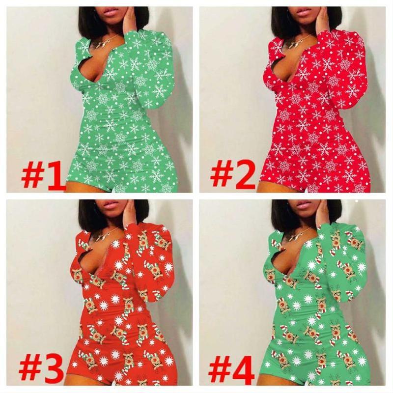 Mulheres de natal flocos de neve impressos de manga longa jumpsuit pijama pijama pijama para mulheres plus tamanho mulheres pijamas