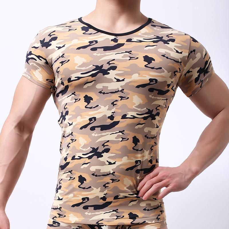 Erkekler O-Boyuncu / Woxuan Marka Polyester Kamuflaj Adam Fitness Kısa Kollu Gömlek / Eşcinsel Spandex Nefes Üstleri İç Giyim