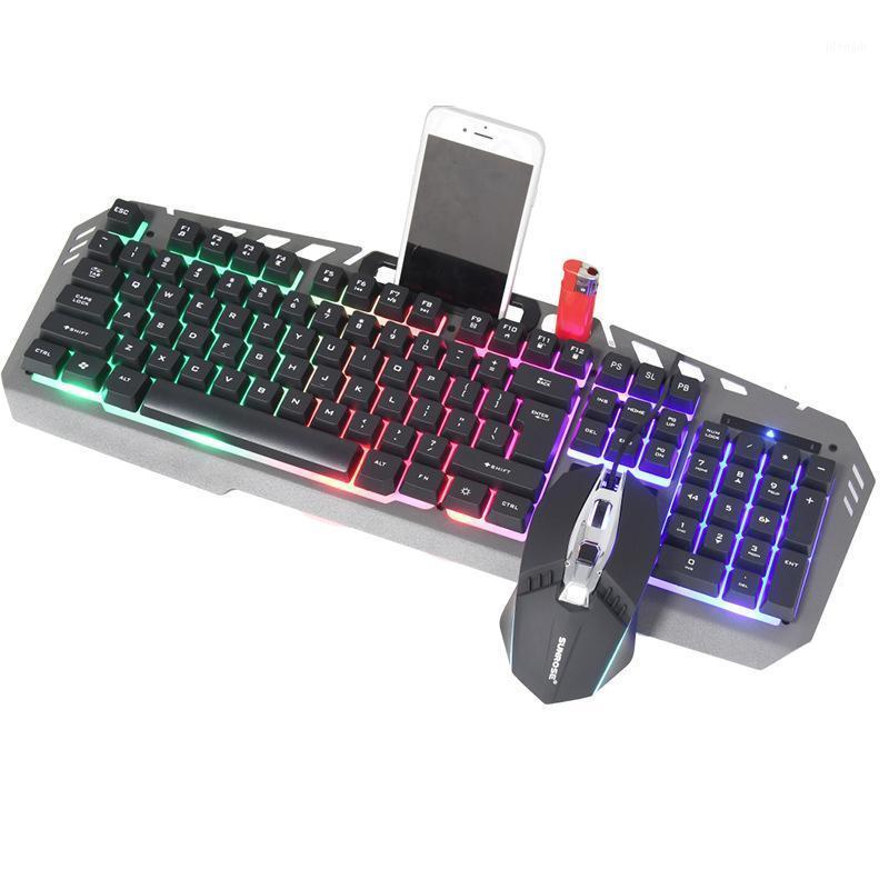 Notebook Externe Tastatur und Maus-Set Internet Cafe Maus und Tastatur-Set Leuchtstoff-kabelgebundene Metallplatte Metall1