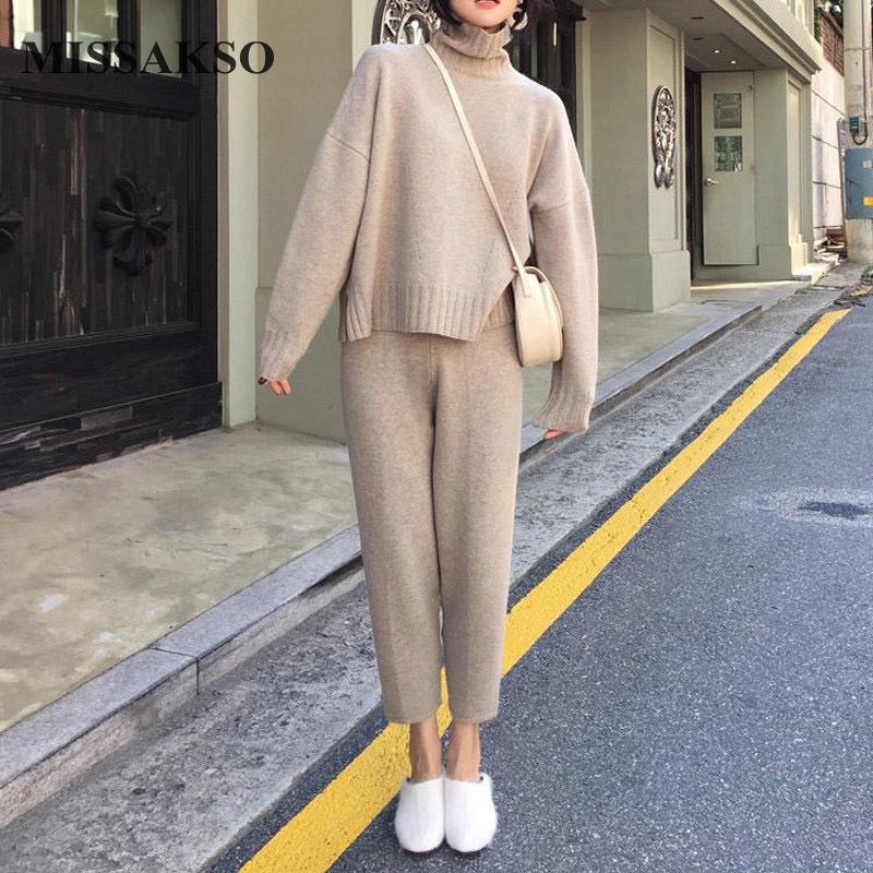 Maglioni da donna Missakso Casual inverno inverno a maglia a maglia a maglia a due pezzi Set Streetwear manica lunga moda donna solido maglione maglione larga larga gamba p