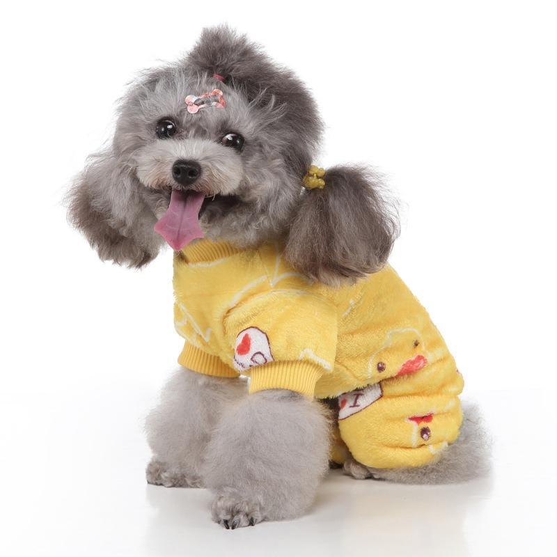 ПЭТ милые животные напечатаны с напечатанными пижамыми, комфортабельные милые пижамы для небольших средних собак осень зима дома теплое пальто