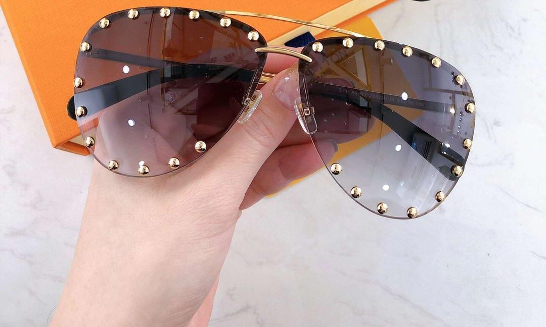 O partido marrom óculos de sol studes óculos moda óculos de sol sol sem aro sombreado ouro piloto olho desgaste com caixa prgct