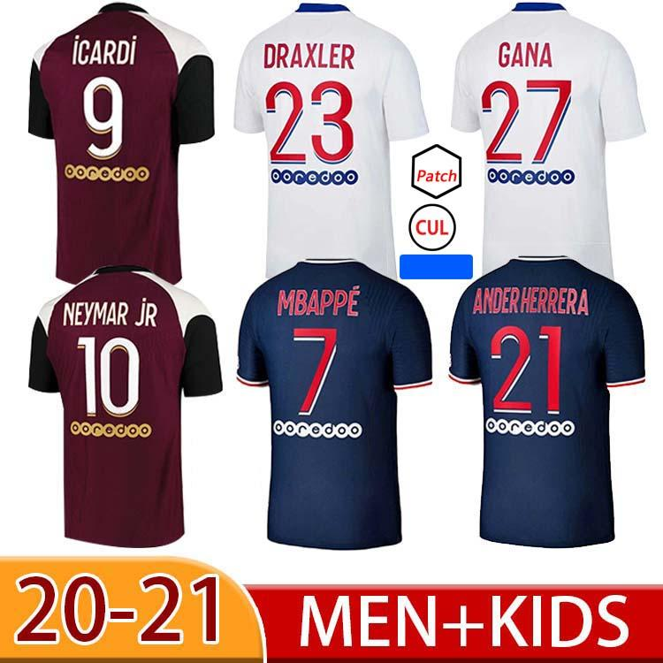 2021 Personalizado Jersey Jersey Mbappe Verratti Kean Jersey 2020 2021 di Maria Kimpembe Marquinhos Iceardi Camisa de futebol 20 21 homens + Kids Kit