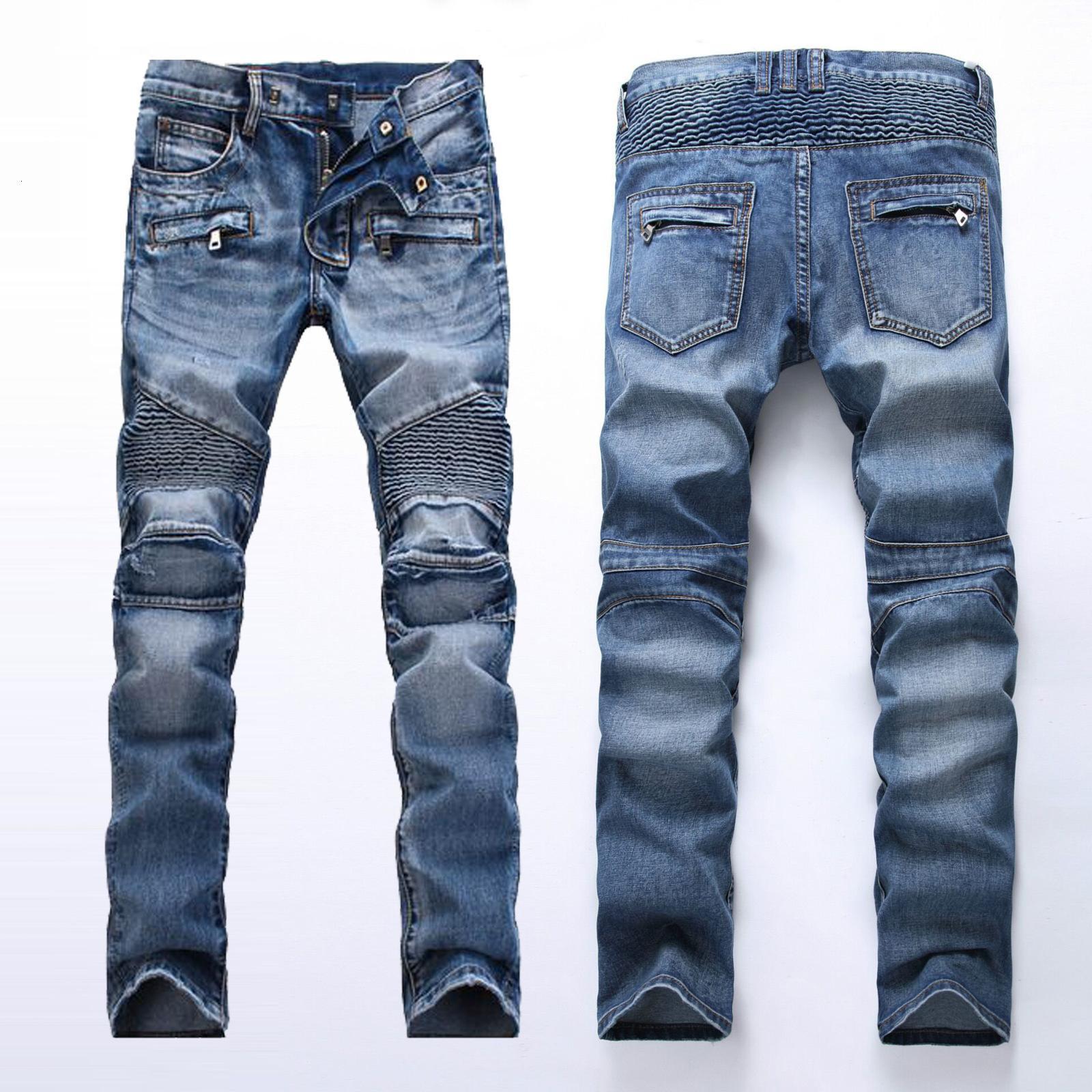Pantalon décoratif de motocyclette décoratif à fermeture éclair rapide des jeans