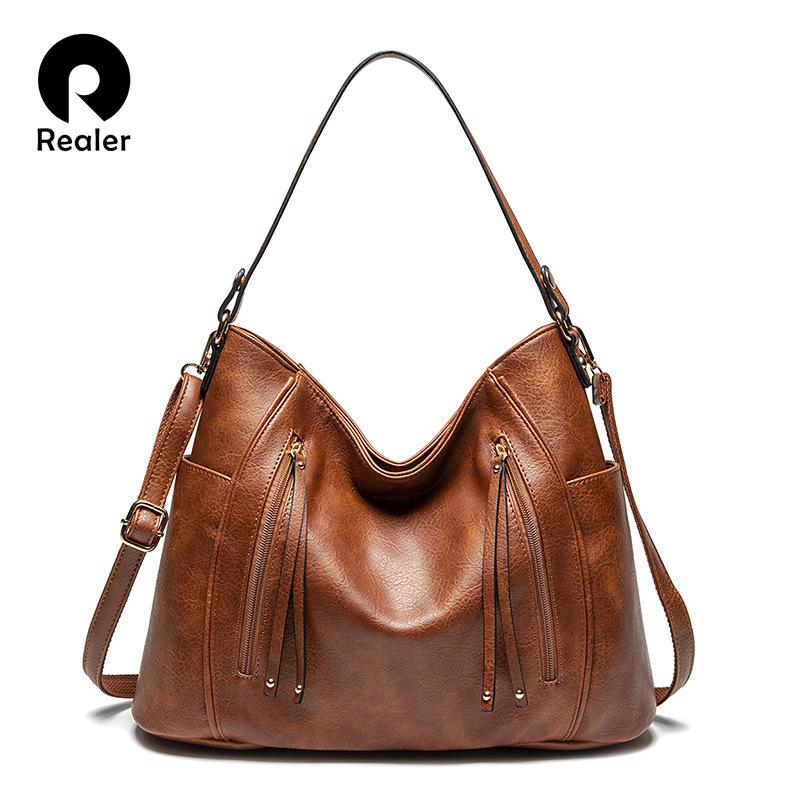 Realer women's handbags women fashion tote high quality PU leather shoulder bags ladies zipper Messenger bag Q1230