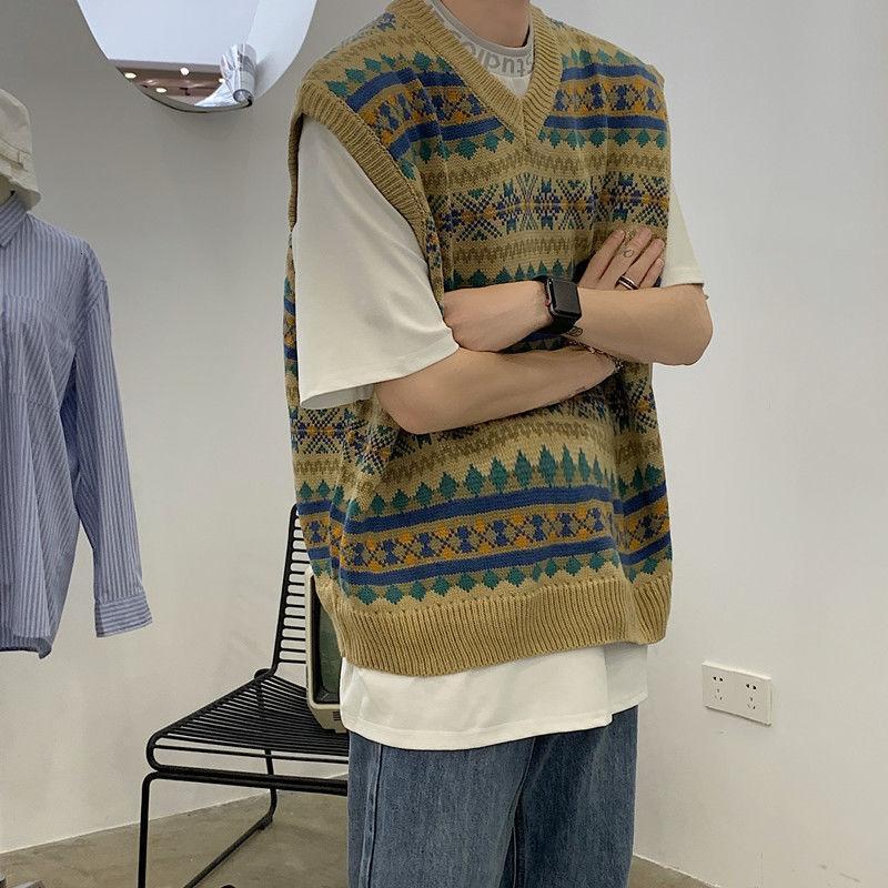 Autunno coreano maglione maglia da uomo moda retrò casual scollo a V maglia pullover maschile uomini streetwear sciolto maglia maglia maglioni maglioni da uomo