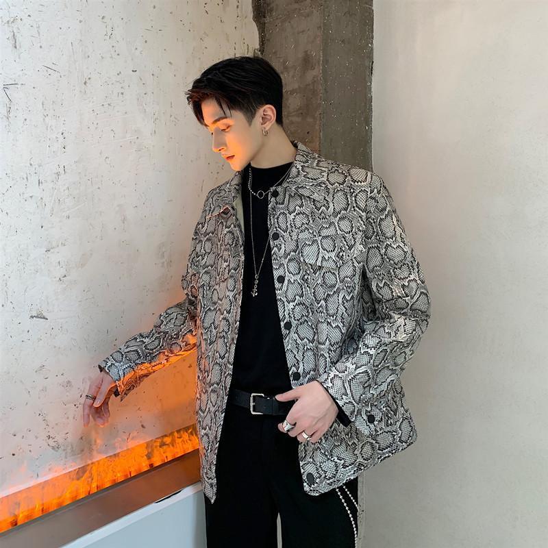 Erkek Ceketler Erkek Streetwear Coat Giyim Erkekler Vintage Moda Gevşek Rahat Yılan Baskı Deri Ceket