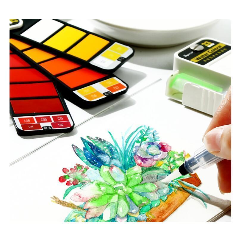 Üstün katı suluboya boya set acemi dolma kalem çocuk fan şeklindeki suluboya boya öğrenci boyama wmtkgr homes2011