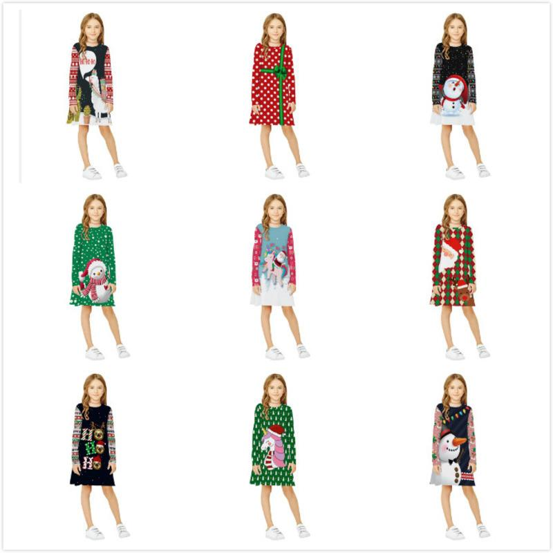 Children Dress Digital Printed Christmas Camel Fashion Round Neck Pullover Long Sleeve A-line Skirt Kids New Clothes lababy80