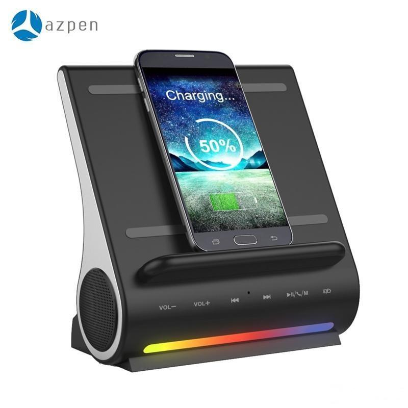 AZPEN D100 Docking Station HIFI Bluetooth Speaker LED Wireless Charging Subwoofer With Multiple USB Ports For Andriod Charger