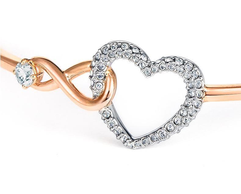 сердца и ключ бесконечность браслета шарма ювелирных изделия креста браслет для женщин Weding розового золота леди подарка