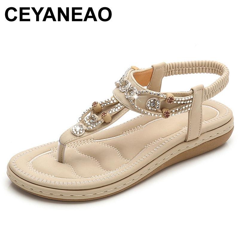 CEYANEAO summer sandals; shoes with a flat sole; women's sandals made of artificial leather; Casual Walking Shoe Q1217