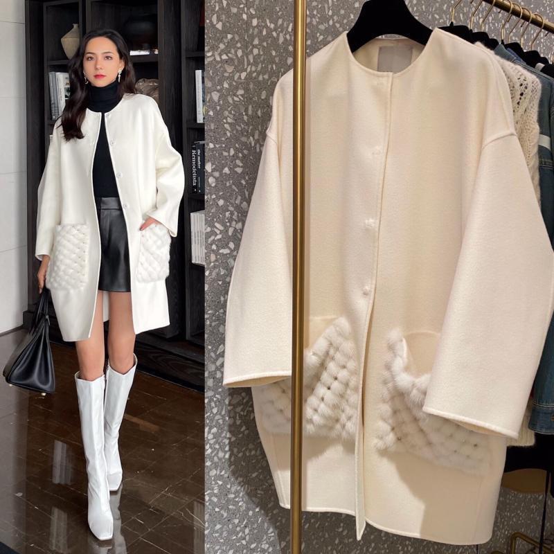 Abrigo de invierno de alta calidad Mujeres 2021 elegantes de oficina de oficina blanca abrigo de cachemira de lujo chaqueta larga