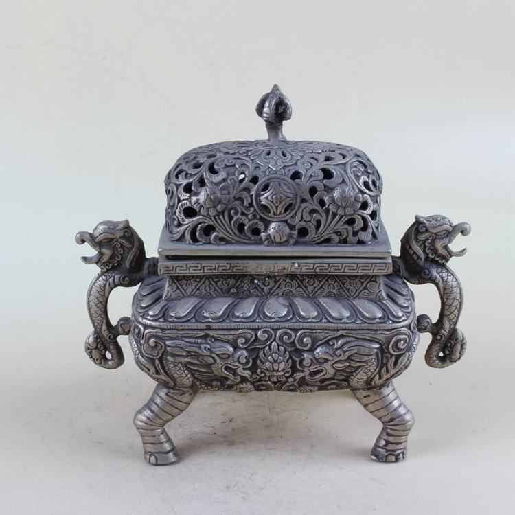 Chinesischer antiker weißer Kupfer-Binural-Räucherbrenner BT069