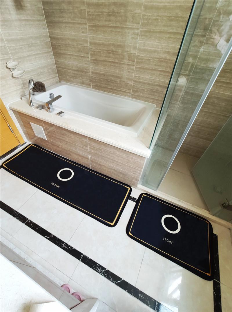 Tapetes de Hipster Durável Casa de Banho Cozinha Top Quality Set Luxo Tapetes Interior Não-Slip Absorver Água Muda Balcão Banho Esteiras De Designer