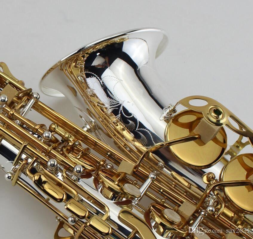 EB Alto Saxophone серебряный никель и позолоченный ключ идеальный внешний вид E плоские профессиональные музыкальные инструменты с корпусом