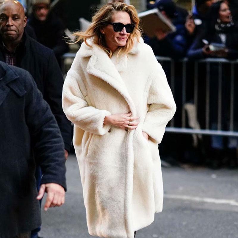 Осень зима женщины бежевый тедди пальто стильный женский густой теплый кашемир куртка повседневные девушки уличная одежда