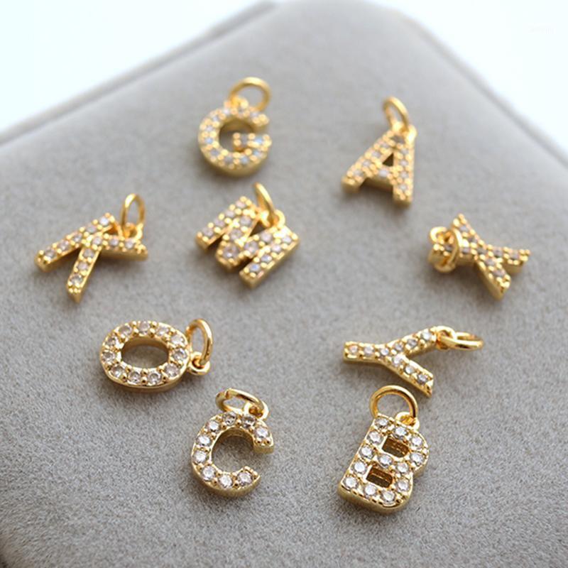 Encantos de Charme para Jóias Fazendo Suprimentos 26 Carta Acessórios Encontrando DIY Pulseira Colar Brinco Encantos Cobre Mosaico CZ1