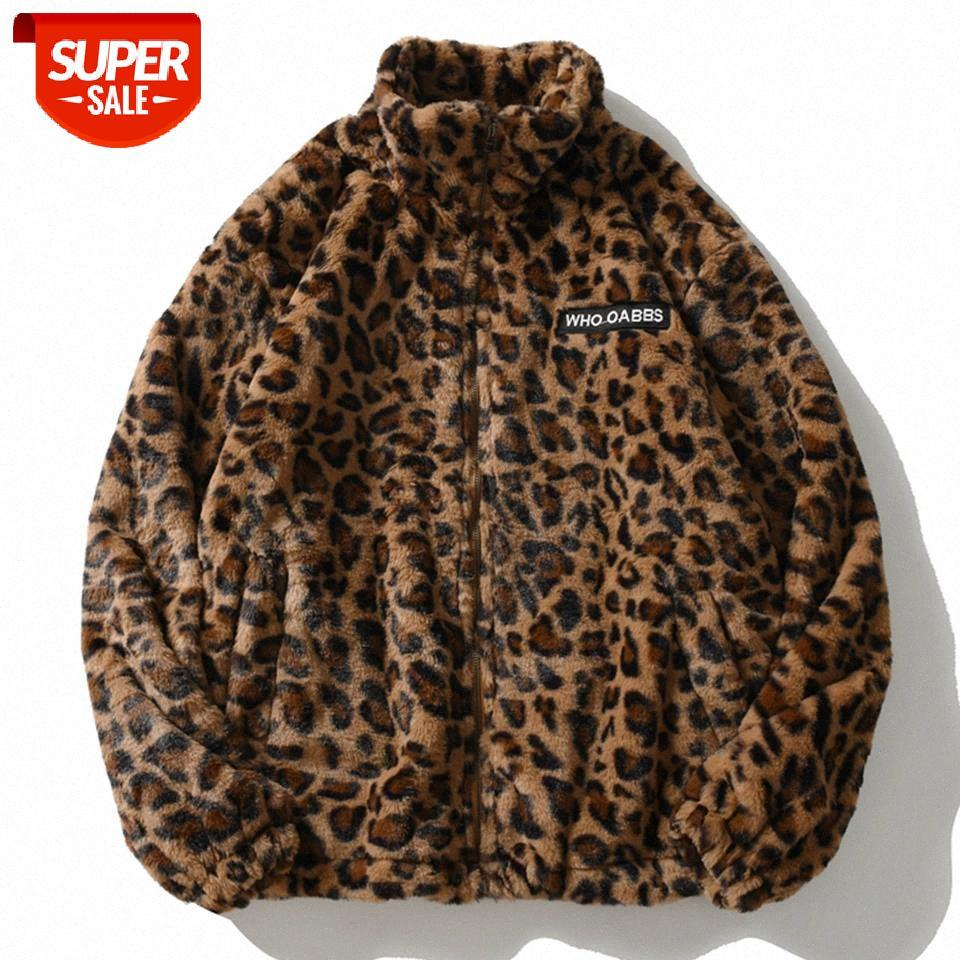 Хип-хоп Lambswool Sherpa Куртка Мужская уличная одежда Леопардовый узор Стенд Кардиган Пальто зимой Harajuku Свободная пара Пальты Верхняя одежда # FK0F