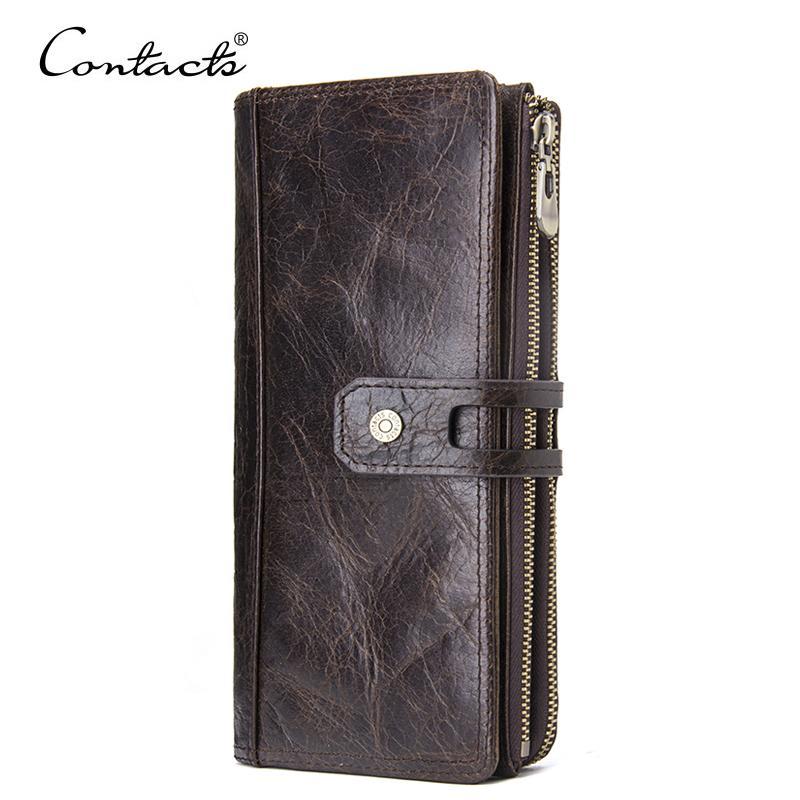 Kontakt Echtes Leder Männer Geldbörse Lange Brieftaschen mit Handytasche Damen Mode Kupplung Brieftasche Münze Geldbörsen Weibliche Walet