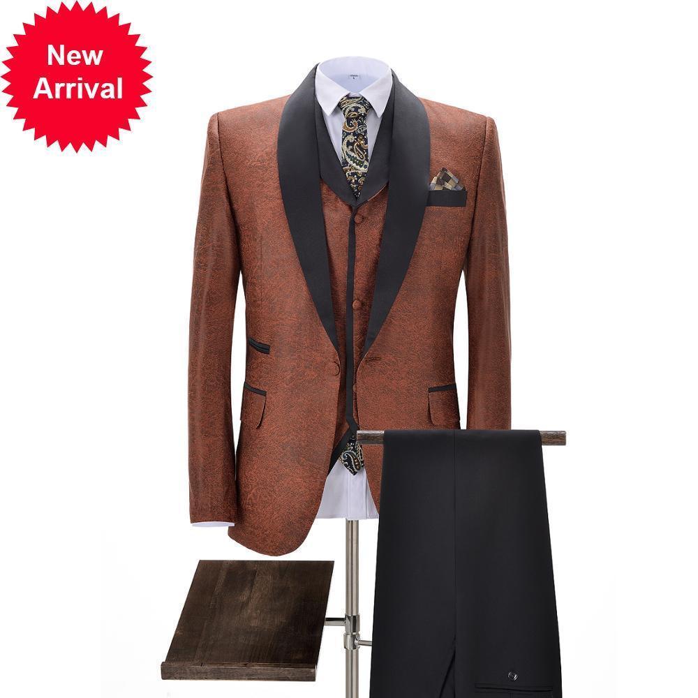 Trajes de los hombres formales de 3 piezas con ajuste regular de cuero gris cálido prom PROM Naranja TUXEDOS SOLIDA SOLIDA PARA PODER DE BODA (Blazer + chaleco + pantalones)
