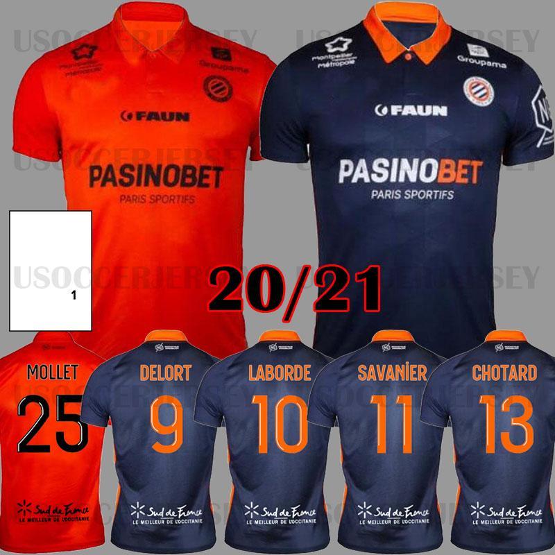 20 Maillot Montpellier HSC Futebol Jerseys 2020 2021 Delort Maillot de Foot Savanier Lecomte Labord Chotard Mavididi Football Shirts