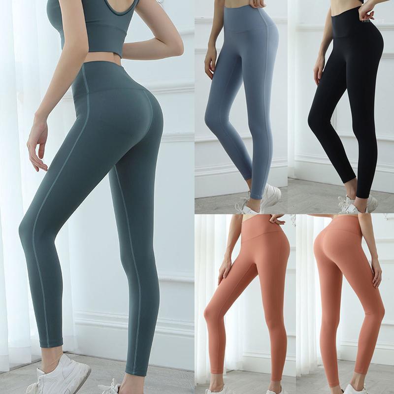 Mujeres Altas Leggings Pantalones de yoga Color Sólido Elástico para deportes de aptitud Correr BHD21